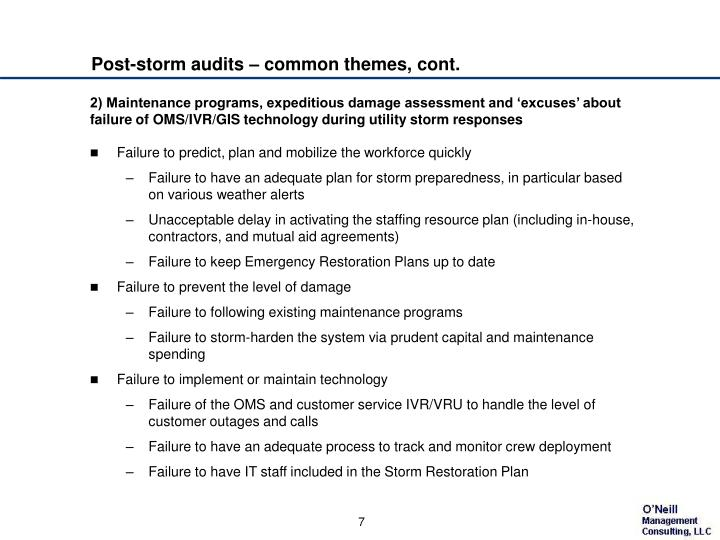 Post-storm audits – common themes, cont.