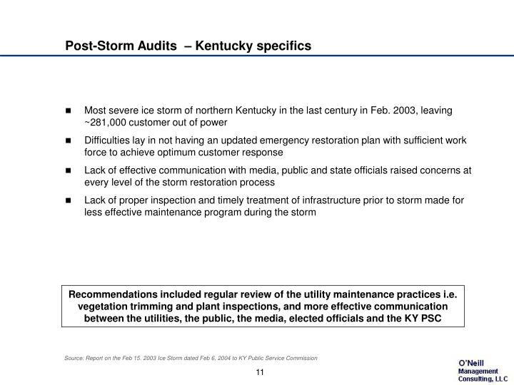 Post-Storm Audits  – Kentucky specifics