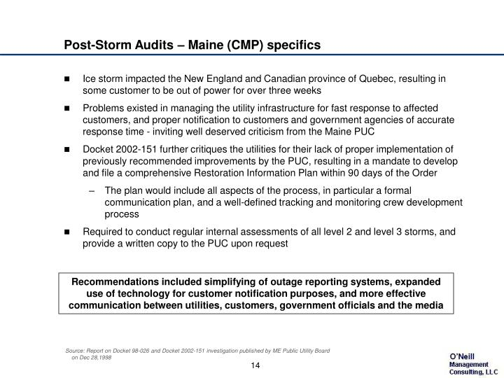 Post-Storm Audits – Maine (CMP) specifics