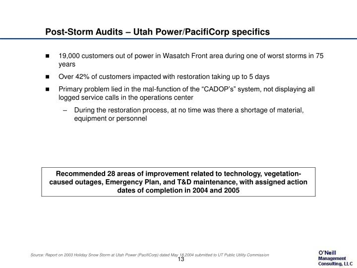 Post-Storm Audits – Utah Power/PacifiCorp specifics