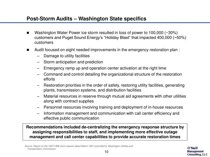 Post-Storm Audits – Washington State specifics