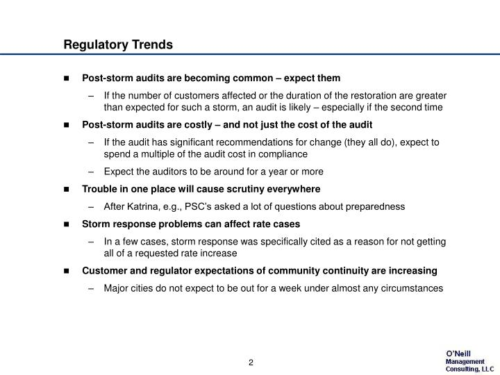 Regulatory trends