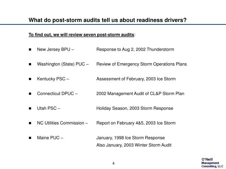 What do post-storm audits tell us about readiness drivers?