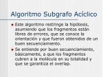 algoritmo subgrafo ac clico