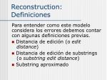 reconstruction definiciones