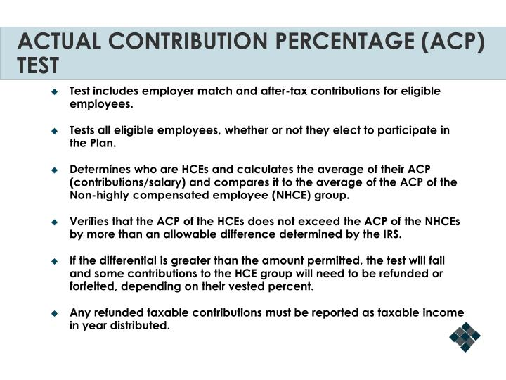 ACTUAL CONTRIBUTION PERCENTAGE (ACP) TEST