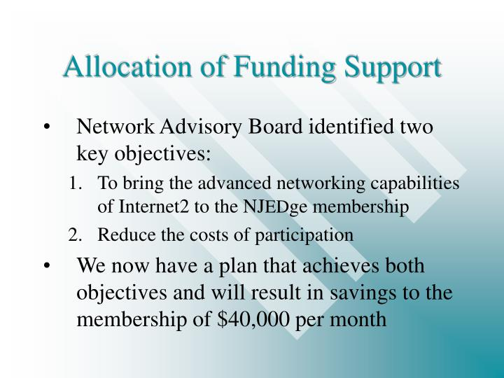 Allocation of funding support