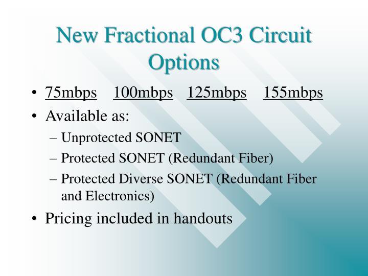 New Fractional OC3 Circuit Options