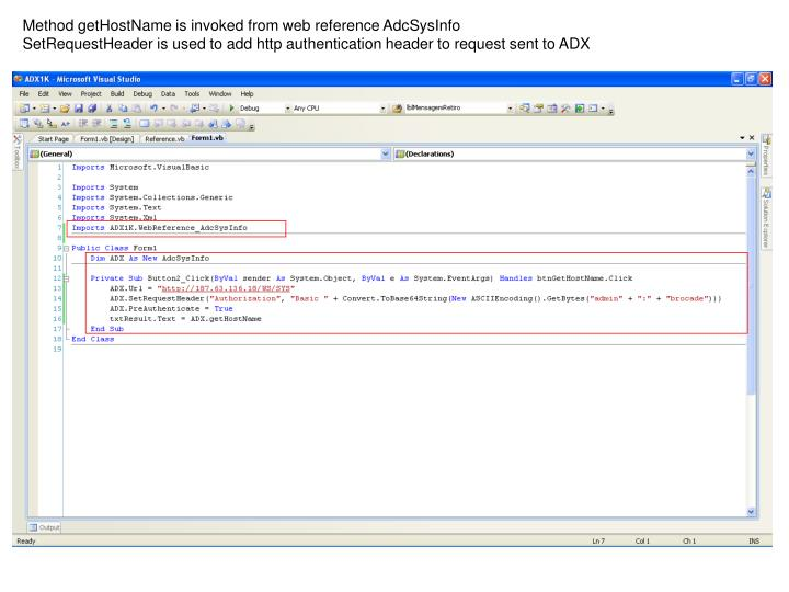 Method getHostName is invoked from web reference AdcSysInfo