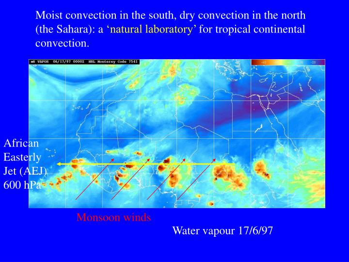 Moist convection in the south, dry convection in the north (the Sahara): a