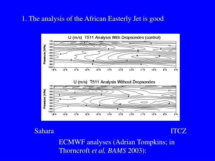 1. The analysis of the African Easterly Jet is good