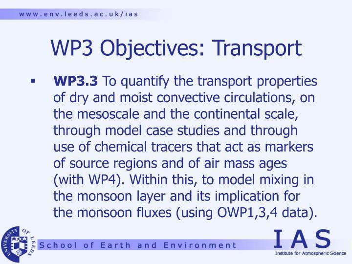 WP3 Objectives: Transport