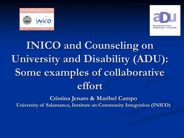 Inico and counseling on university and disability adu some examples of collaborative effort