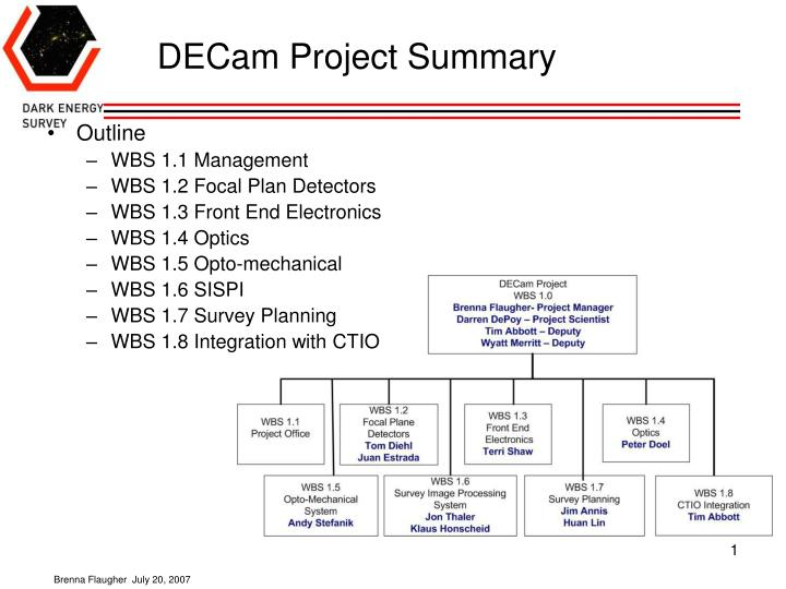decam project summary n.
