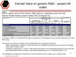 earned value on generic r d project 40 codes