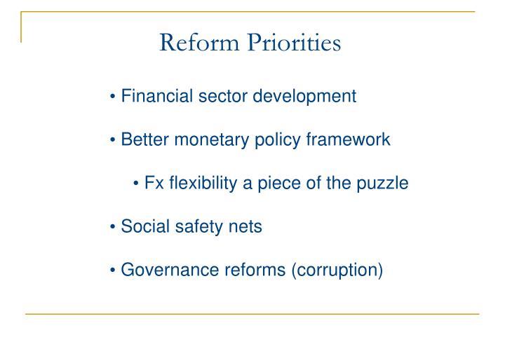 Reform Priorities
