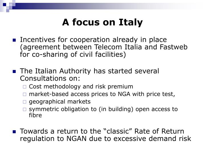 A focus on Italy