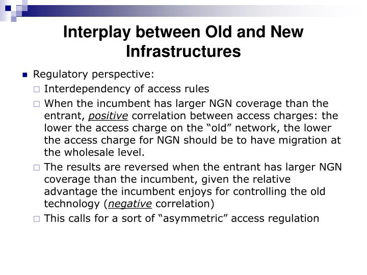 Interplay between Old and New Infrastructures
