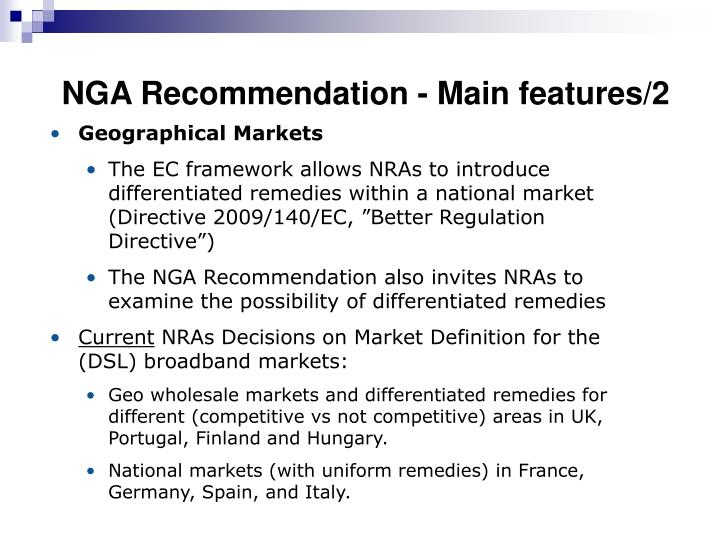 NGA Recommendation - Main features/2