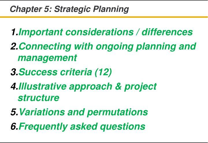 Chapter 5: Strategic Planning