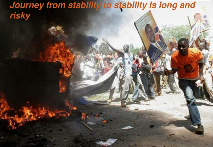 Journey from stability to stability is long and risky