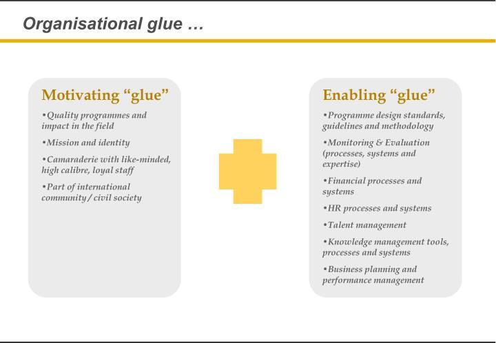 Organisational glue …