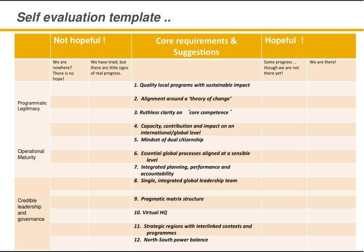 Self evaluation template ..