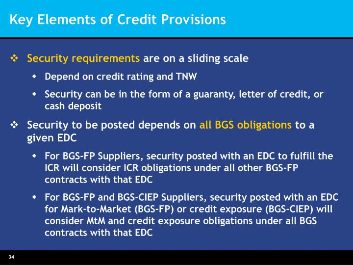 Key Elements of Credit Provisions