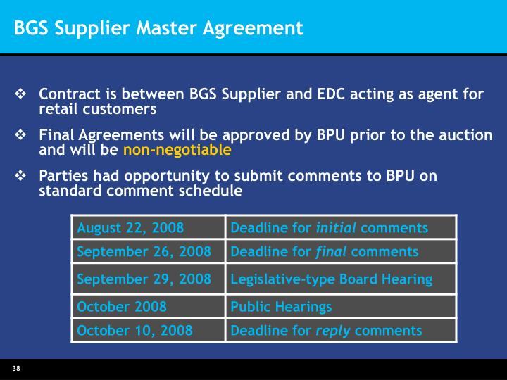 BGS Supplier Master Agreement