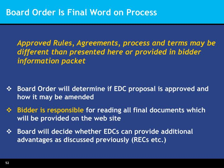 Board Order Is Final Word on Process
