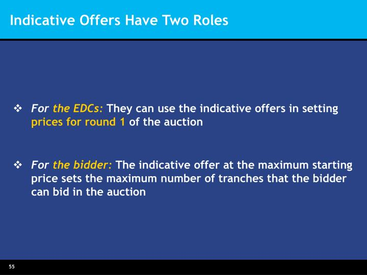 Indicative Offers Have Two Roles