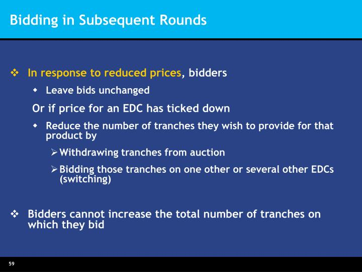 Bidding in Subsequent Rounds
