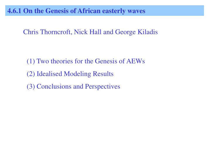 4.6.1 On the Genesis of African easterly waves