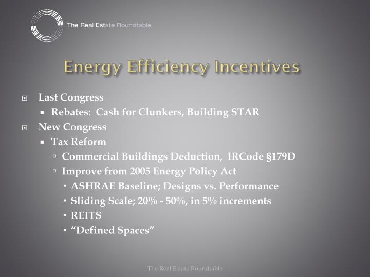 Energy efficiency incentives