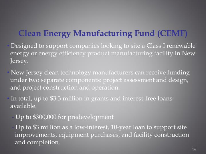 Clean Energy Manufacturing Fund (CEMF)