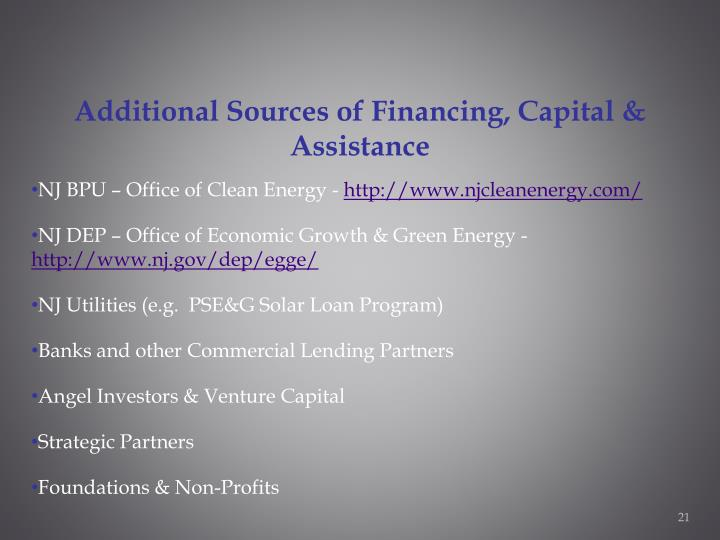 Additional Sources of Financing, Capital & Assistance