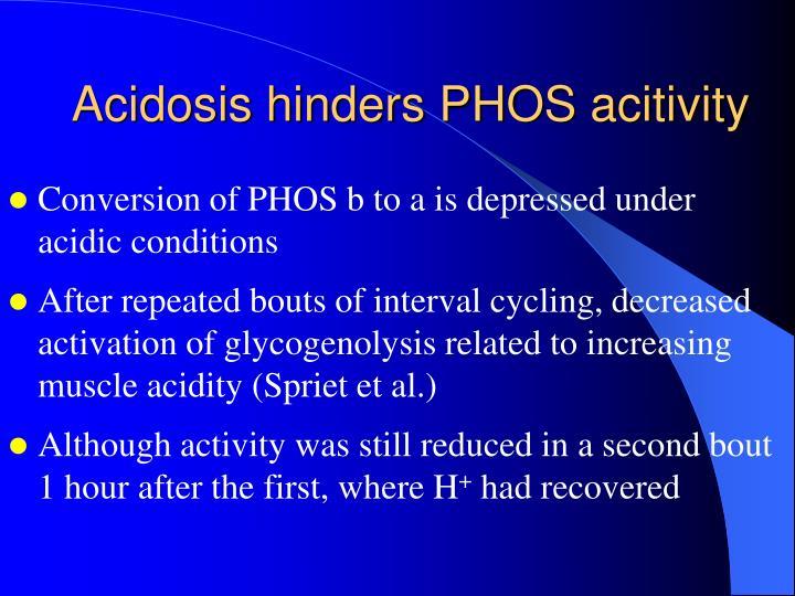 Acidosis hinders PHOS acitivity