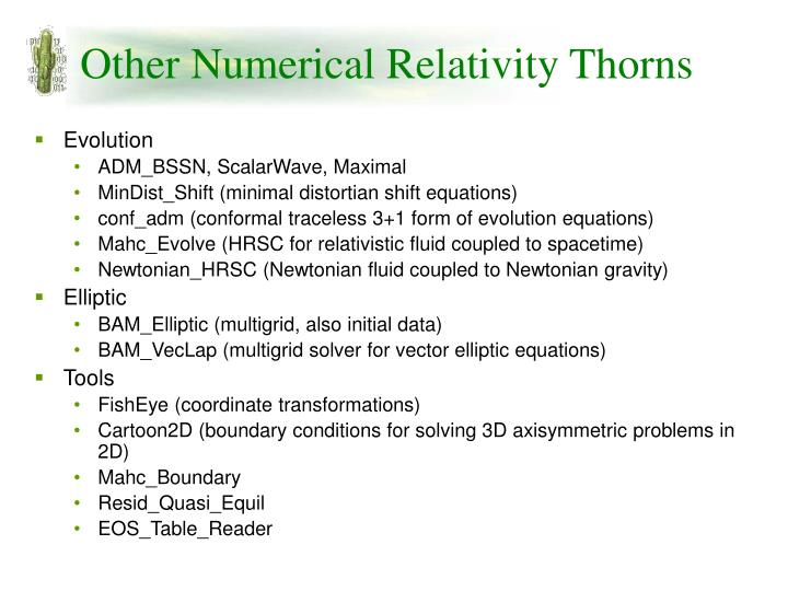 Other Numerical Relativity Thorns