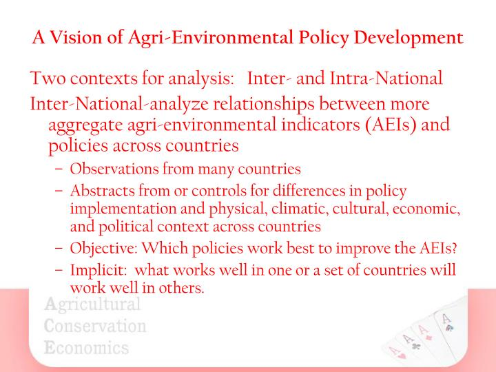 A vision of agri environmental policy development