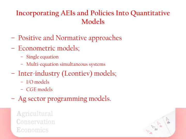 Incorporating AEIs and Policies Into Quantitative Models