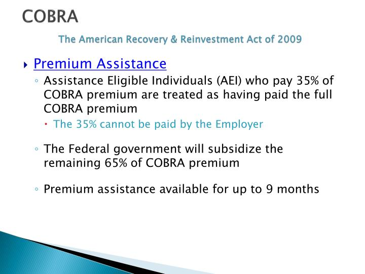 Cobra the american recovery reinvestment act of 2009