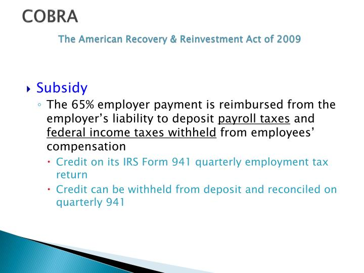 Cobra the american recovery reinvestment act of 20091