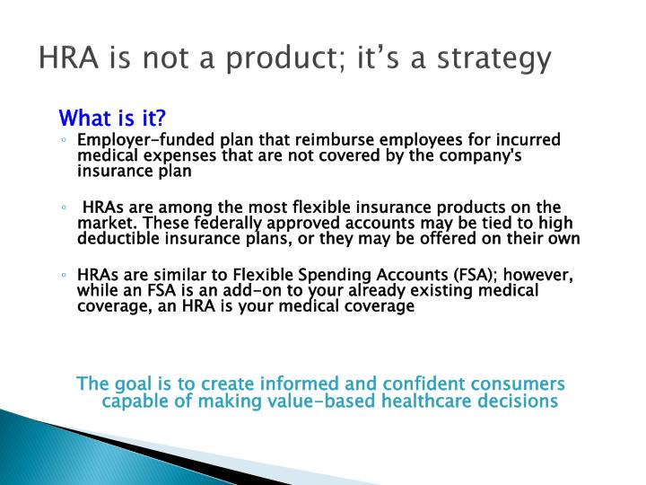 HRA is not a product; it's a strategy