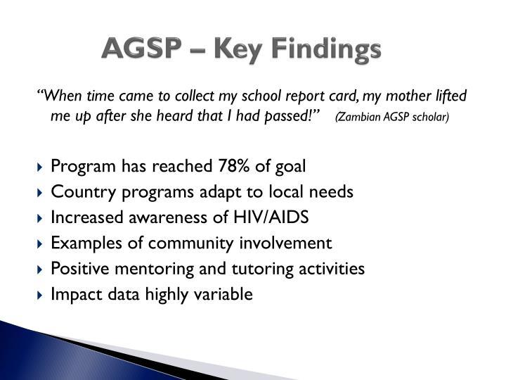 AGSP – Key Findings
