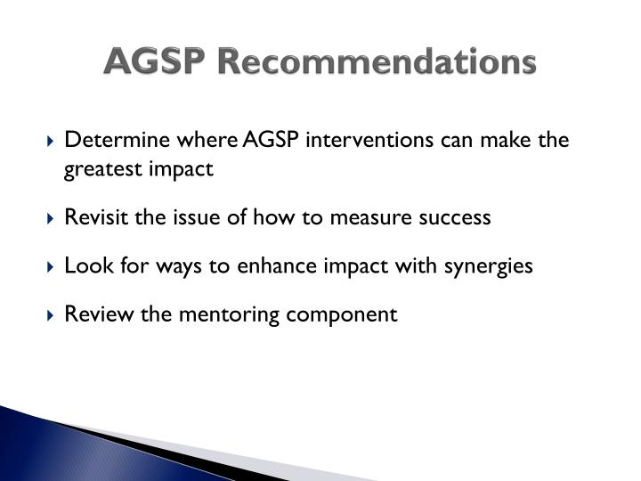 AGSP Recommendations
