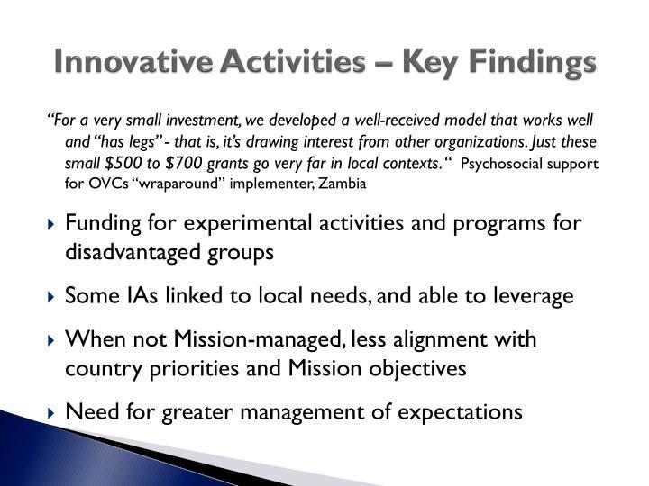 Innovative Activities – Key Findings