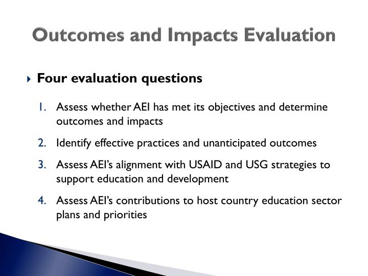 Outcomes and impacts evaluation