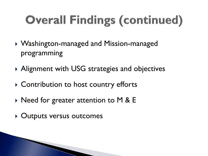 Overall Findings (continued)