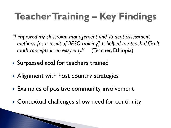 Teacher Training – Key Findings