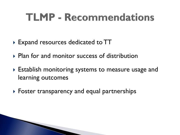 TLMP - Recommendations